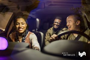 Lyft and Delta strategic partnership: 2 riders and a driver take a ride using Lyft