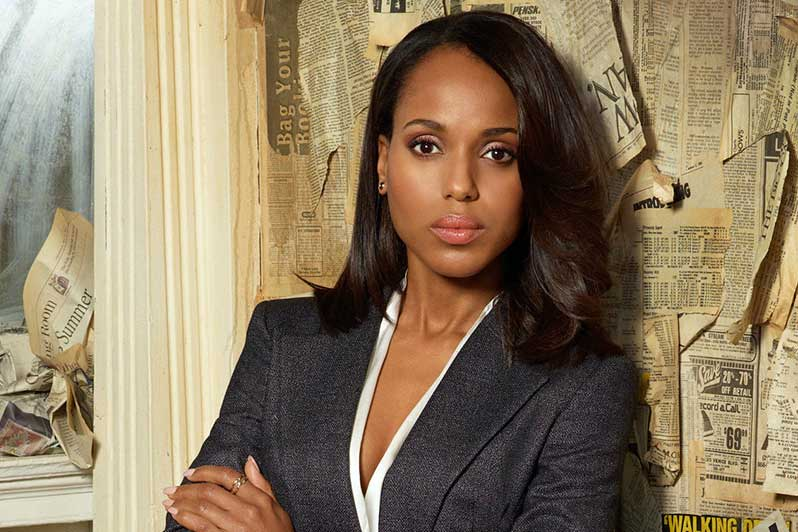 Crisis public relations: Olivia Pope stands in front of a backgdrop of yellowed newspaper clippings
