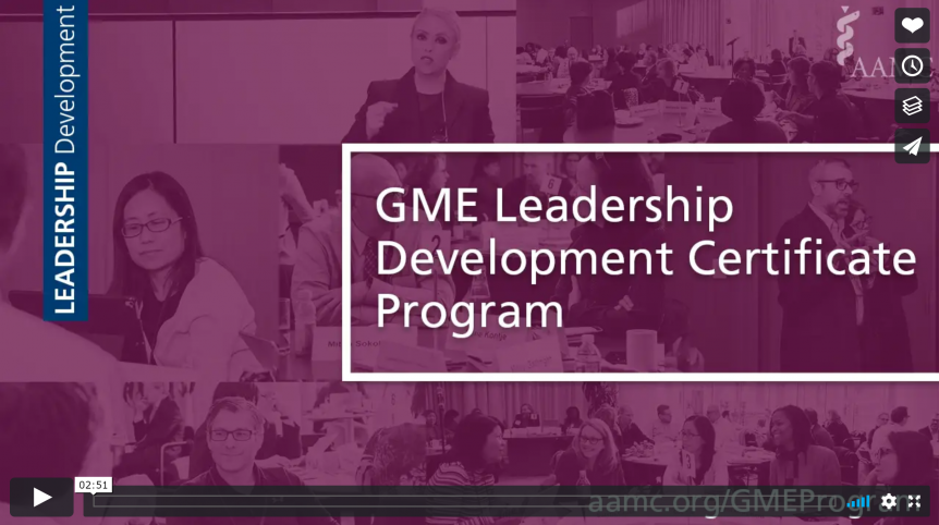 still shot of the AAMC GME Leadership Development Certificate Program promo video