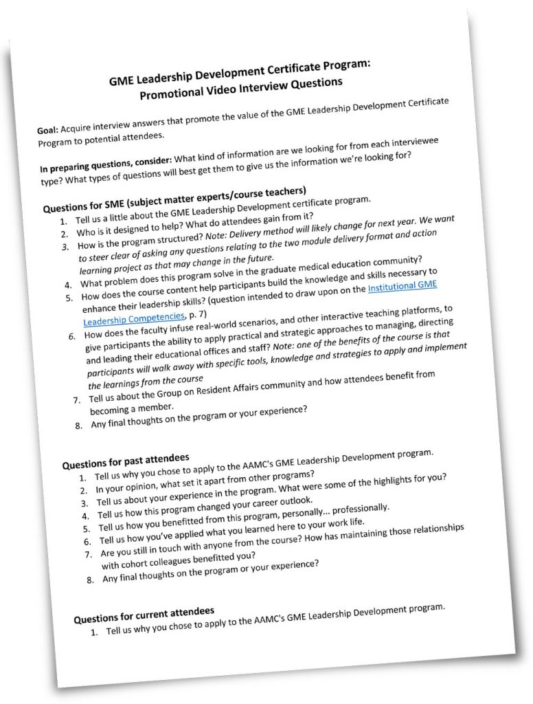 Sheet of interview questions for GME program